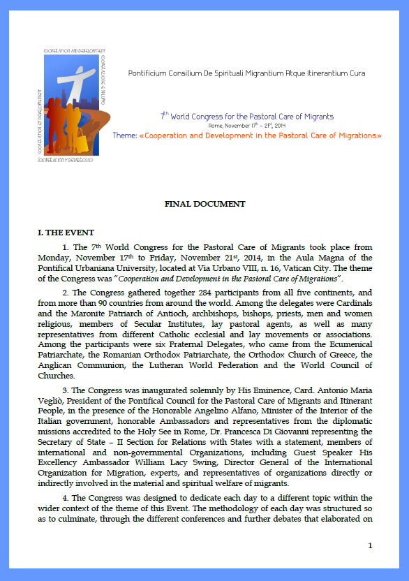 ENGLISH, 7th World Congress for the Pastoral Care of Migrants