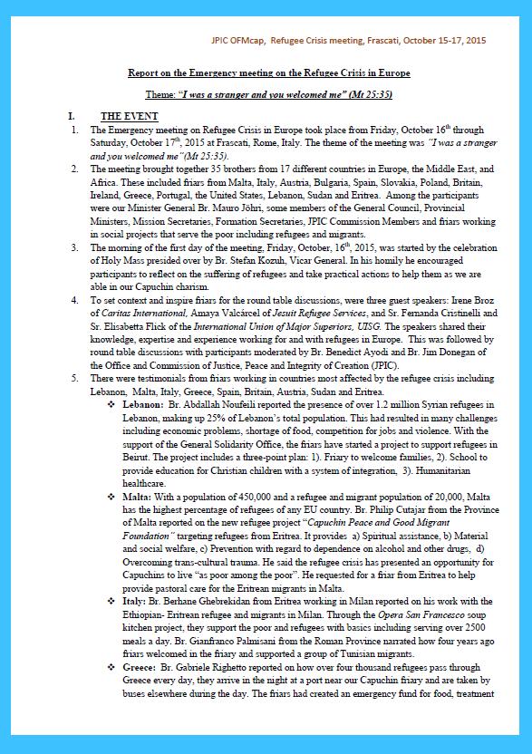 ENGLISH, Refugee Crisis Meeting, Final Report