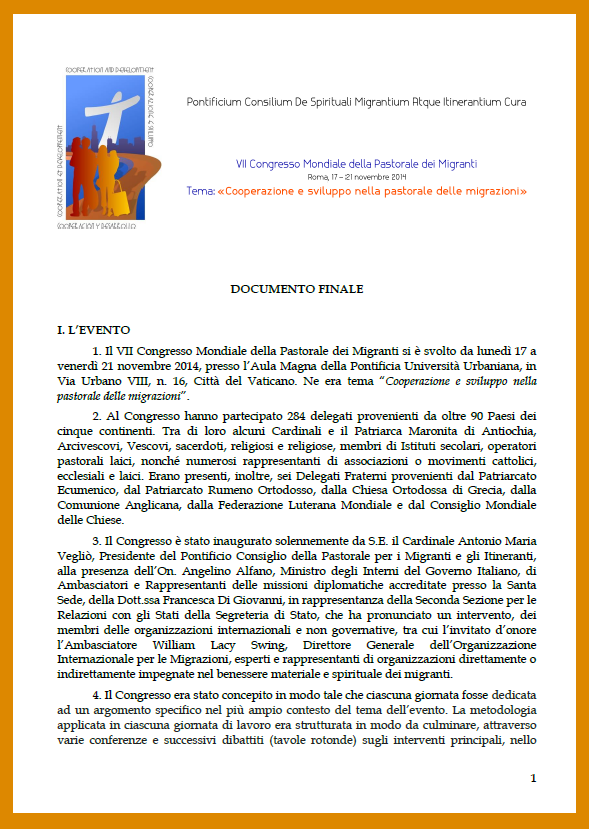 ITALIAN, 7th World Congress for the Pastoral Care of Migrants